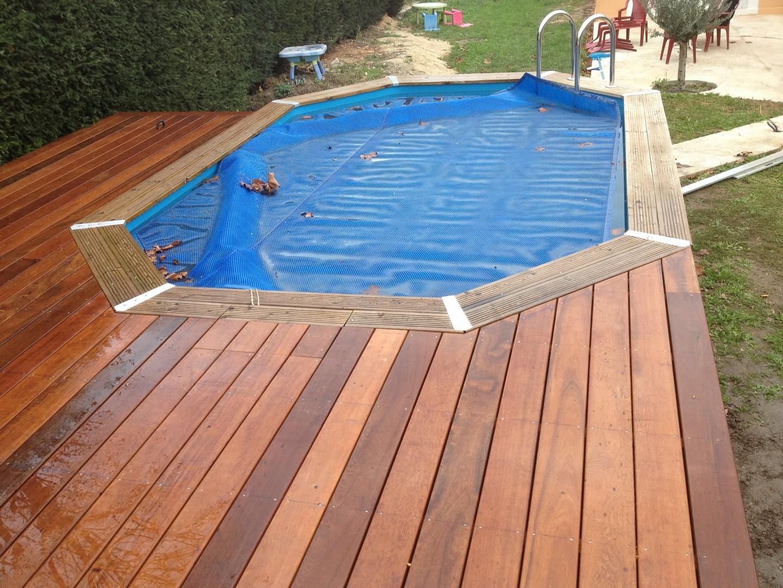 Plage de piscine pour piscine hors sol en bois exotique itauba calas les terrasses du bois - Escalier bois pour piscine hors sol ...