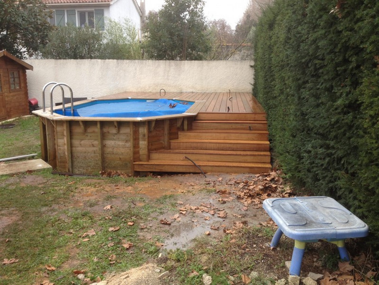 Plage de piscine pour piscine hors sol en bois exotique itauba calas les terrasses du bois - Tour de piscine en bois ...