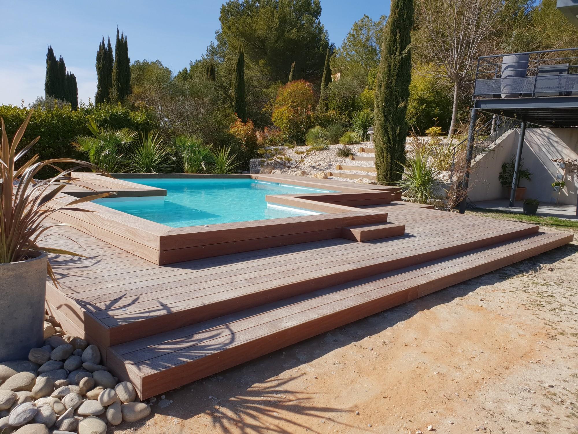 Tour de piscine en cumaru aix en provence les terrasses du bois - Tour de piscine en bois ...